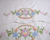 Vintage Embroidered Pillowcases, Vintage linens, Embroidered Linens, Pastel Floral Pillowcases, cottage Chic, Shabby Chic
