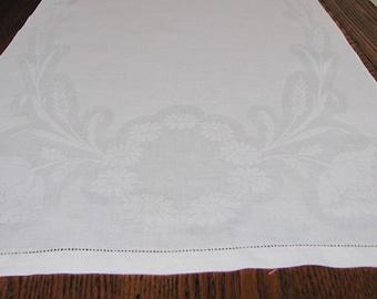 Antique Damask Towel, Cotton Damask Towel, white Damask Towel, Daisies, Floral Damask Towel, Poppies, White on White, Kitchen, Art Nouveau