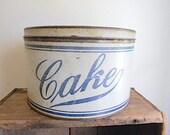 Antique cake storage tin canister 1910s 1920s - round cookie, flour, bread box - farmhouse decor