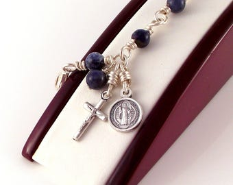 St Benedict Rosary Bracelet Wire Wrapped Blue Sodalite by Unbreakable Rosaries