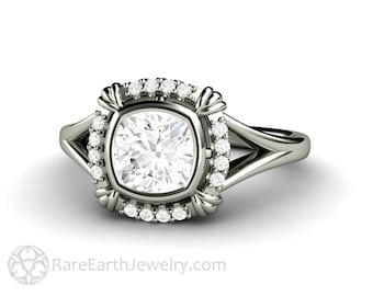 Vintage Forever One Moissanite Engagement Ring Art Deco Diamond Halo 14K 18K Gold or Platinum