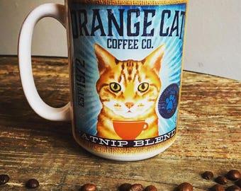 Orange Tabby Cat Coffee company graphic art MUG 15 oz ceramic coffee mug