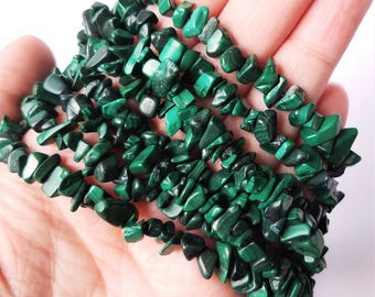 """Malachite Chip Beads Natural Green  Gemstone Beautiful Chips and Nuggets Choose 50, 100 or 300pc 36"""" Strand"""