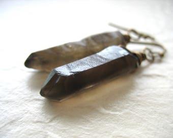 Smoky Quartz Crystal Point, Smoky Quartz Crystal Point Earrings, Handmade Artisan Gemstone Dangle Drop Earrings, Quartz Earrings