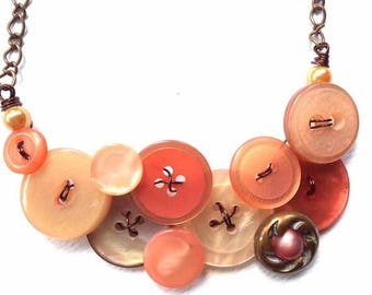 Christmas in July Sale Button Necklace Rustic Peach Shimmer Buttons with Copper