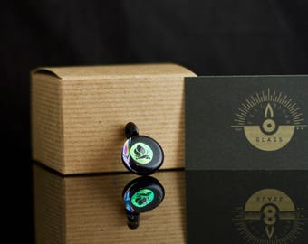 Campfire Pendant / Bonfire Jewelry / Dichro Glass / Glass Pendant / Camping Jewelry / Woodland / Black & Dichroic / Ready to Ship #676