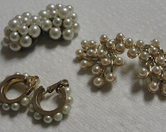Beautiful Simulated Pearl Clip Earrings (three pair of earrings)