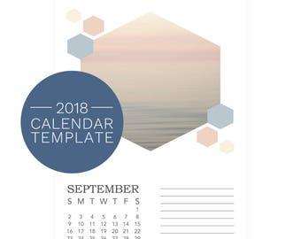 2018 Calendar Templates - 2018 Desk Calendar - Honeycomb Photo Desk Calendar - DIY Printable Calendar - 5x7 Desk Calendars - PhotoShop