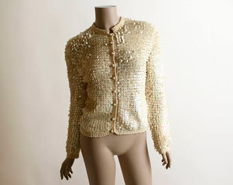 Vintage 1960s Sequin Sweater - Cream Eggshell Ivory Iridescent Sequined Wool Cardigan Sweater - H Liebes Italian - Small