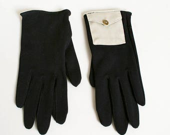 Vintage 1950s Gloves with Wrist Pocket - Black with Light Canvas Snap Pocket - Hidden Gems - Nylon Gloves - Grandoe