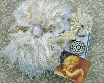 Sweet Petite Snippets...Sleeping Angel 2...Mini Embellishment Inspiration Kit for snippet rolls,gift tags, cards, ATC,collage,crazy quilting
