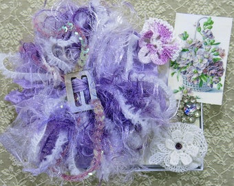 Sweet Petite Snippets...Flower Basket, Lavender Mini Embellishment Inspiration Kit, snippet rolls,gift tags,cards,ATC,collage,crazy quilting