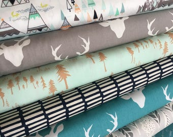 Quilting fabric, Tee Pee Fabric, Adventure fabric, Hello Bear fabric, Deer fabric, Art Gallery Fabric- Fabric Bundle of 7