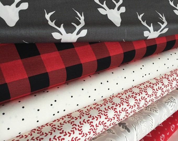 Hello Bear, Gray Deer fabric, Plaid, Forest fabric, Fall Fabric, Art Gallery, Fabric Bundle of 6- Choose the Cut, Free Shipping Available