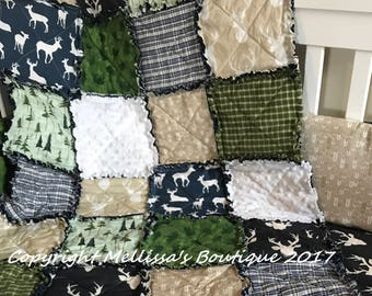 Custom Rustic Lodge Woodland Arrows Deer Plaid Navy Cream Tan & Green Baby Travel Rag Quilt Photo Prop Bedding MADE TO ORDER