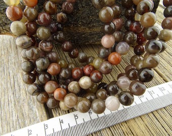 8mm Brazil Petrified Wood Agate, Petrified Wood Agate Round Beads, 8 mm Earthy Bold Rich Brown Multicolor Natural Gemstone Beads
