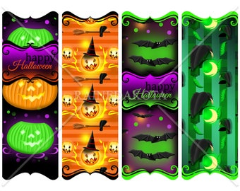 Printable Bookmarks, Halloween Bookmark, Halloween Images, Digital Hang Tags, Collage Sheet, Halloween Book Marks, Digital Borders, Gift Tag