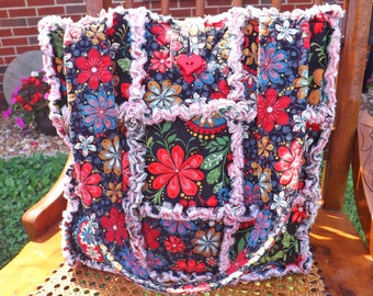 Rag Quilt Tote - Bold Flowers Tote - Floral Tote - Colorful Tote - Bold Flowers Rag Tote - Red, Black, Green - Handbag - Bright Colors Tote