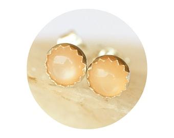 Peach Moonstone Stud Earrings 5mm