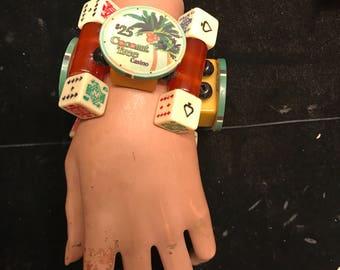Bakelite tile Coconut Tree Poker Chip Dice Casino Bracelet Cuff  Lucky Jan Carlin Original