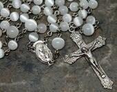 Cat's Eye Glass Rosary in White, 5 Decade Rosary, Catholic Rosary, Wedding Rosary, Bridal Rosary, Sacred Heart