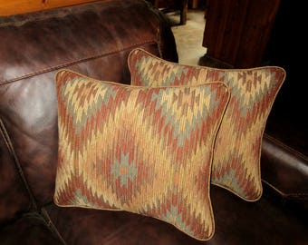 Large Southwest Chenille Tapestry Textured Pillow Decorator Throw Bedding Pillow Kilim Print