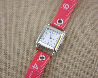 LIMITED TIME ONLY! Tape Measure Watch in Salmon Pink - Square Face
