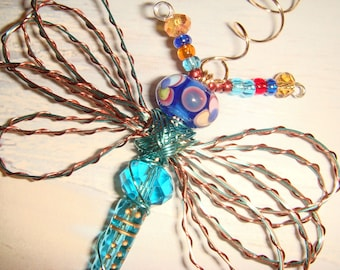 "My #9097 A Bug Eyed Pretty Blue/Copper Alien Fluttering Dragonfly!.. Ornament! Size 3.50""Wx4""L"