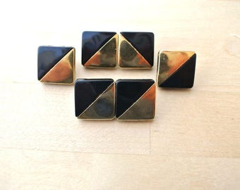 6 Vintage buttons black with gold color plastic square 16mm
