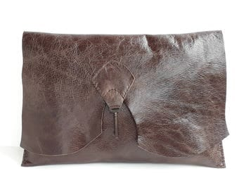 Raw edge leather clutch with vintage key - distressed brown