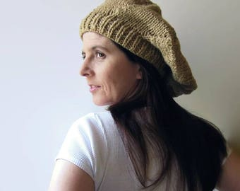 Ochre Beret - French Beret - Chunky Knit Tam - Wool Winter Hat
