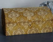 Velvet Damask Jewelry Box I Magnin Made in Italy Gold Boho