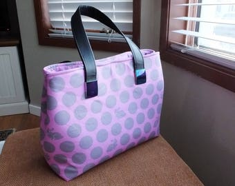 Dotty Miss Maggie handbag, Tula Pink Hoppy Dots fabric print with iridescent strap anchors, unique purse, pink handbag, rabbit print