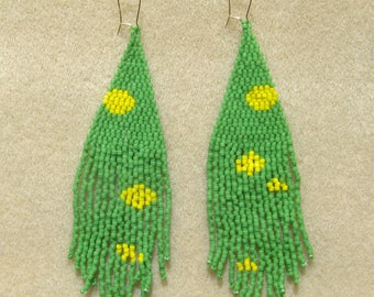 Matte Green and Yellow Seed Bead Handstitched Earrings