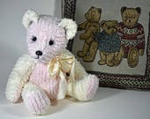 Pink - Handmade Teddy Bear, Artist Bear, Stuffed Animal, Chenille, Toy, OOAK, Made In Alaska