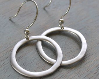 Circle Earrings, Sterling Silver Circle, Matte Silver Earrings, Organic Circle, Minimalist and Dainty Jewelry, Gift for Her, Trending Jewels