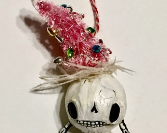 School Christmas tree skeleton man Spun Cotton Ornament---Christmas Holiday Hand painted Doll Decoration.