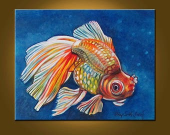 Beautiful Goldfish II -- 16 x 20 inch Original Oil Painting by Elizabeth Graf -- Art Painting, Art & Collectibles