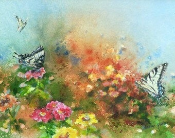 Butterfly Painting - Limited Edition Print - Butterfly Garden - Zinnias - Flower Garden - Home Decor - Wall Art - Floral - Includes Mat