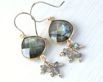 Lab Gold  Earrings   Gemstone Jewelry  Gold Jewellery  Gifts For Her Cluster Earrings