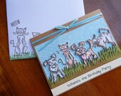 Handmade Birthday Card: dogs, cats, humor, blue, green, pets, birthday, man, women, complete card, handmade, balsampondsdesign