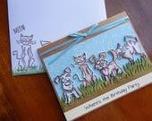 Handmade Birthday Card: dogs, cats, humor, blue, green, pets, birthday, man, women, complete card, handmade, balsampondsdesign
