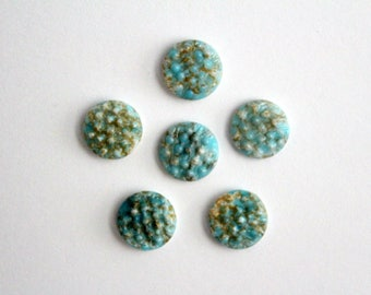 Vintage glass turquoise swirl textured cabochons . 9mm (6)