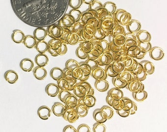 500 pcs Yellow color Gold plated jumprings 4mm, gold plated steel jumprings, bulk yellow gold jumprings