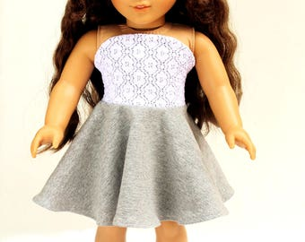 Fits like American Girl Doll Clothes - Bandeau Dress in Heather Gray and Lace, Made To Order
