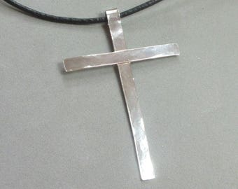 Mens Cross Necklace, Sterling Silver Rustic Cross Pendant, Black Leather Necklace, 22 in Handmade Silver Cross Maggie McMane Designs