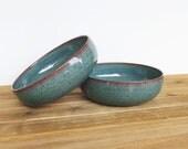 Ceramic Pasta Bowls in Sea Mist Glaze - Stoneware Pottery Bowls, Rustic Kitchen, Ceramic Pottery, Teal Blue Green Bowls, Set of 2