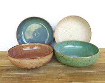 Pasta Bowls, Instant Collection Stoneware Pottery, Rustic Ceramic, Kitchen Bowls, Dinner Salad Bowls, Set of 4