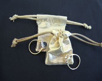 NEW Tiny gold lame pouch -fabric reuseable bag for rings, gifts, presentation, wedding- small but useful size- ready to ship