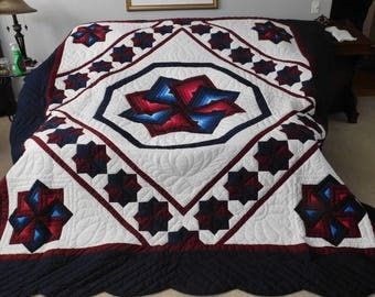 King Size, Amish Made, Hand Stitched Quilting - Spinning Star Quilt